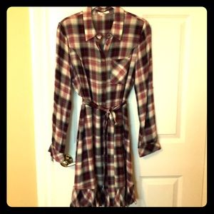 Red plaid belted dress